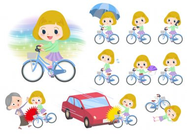 blond hair girl ride on city bicycle