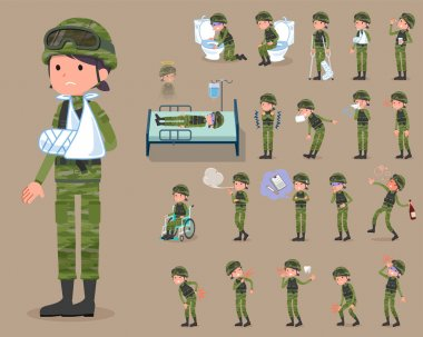 flat type military wear woman_sickness