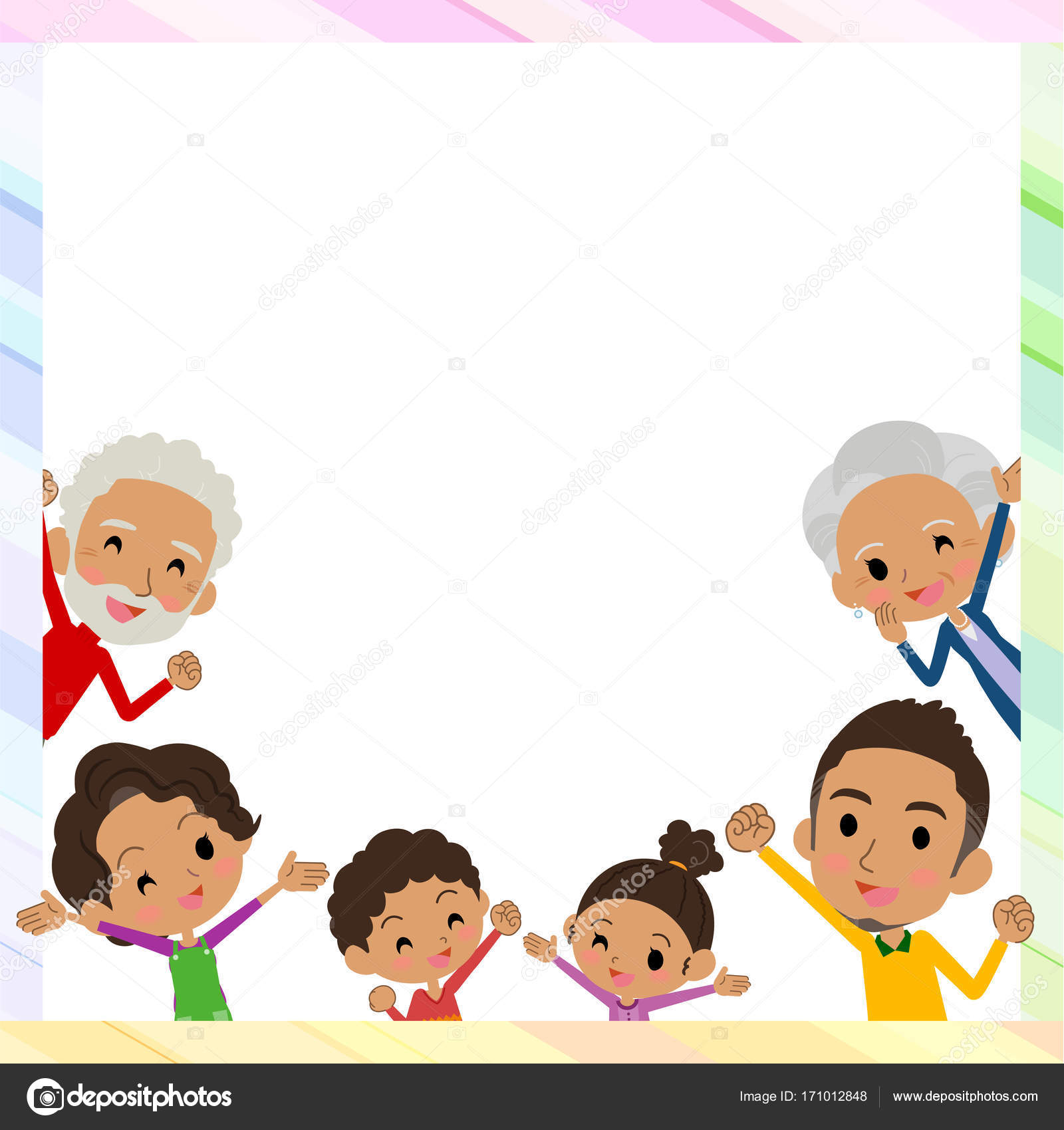 family three generations black_gather in frame — Stock Vector ...