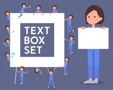 flat type surgical operation blue wear women_text box