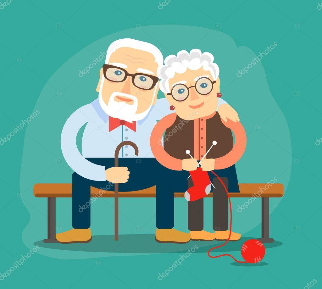 Opa Und Oma Kuscheln Auf Der Bank Sitzen Stockvektor Kkn2118
