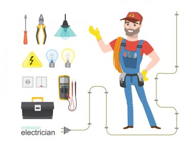 Professional electrician infographics electricity tools installation