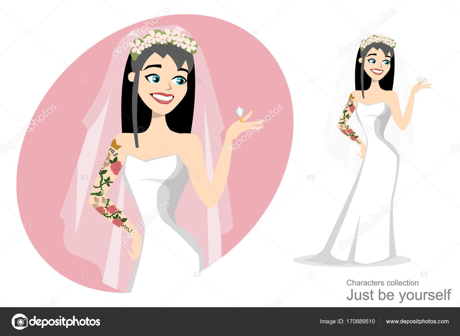 Novia con tatuaje mirando el anillo de bodas — Vector de stock ...