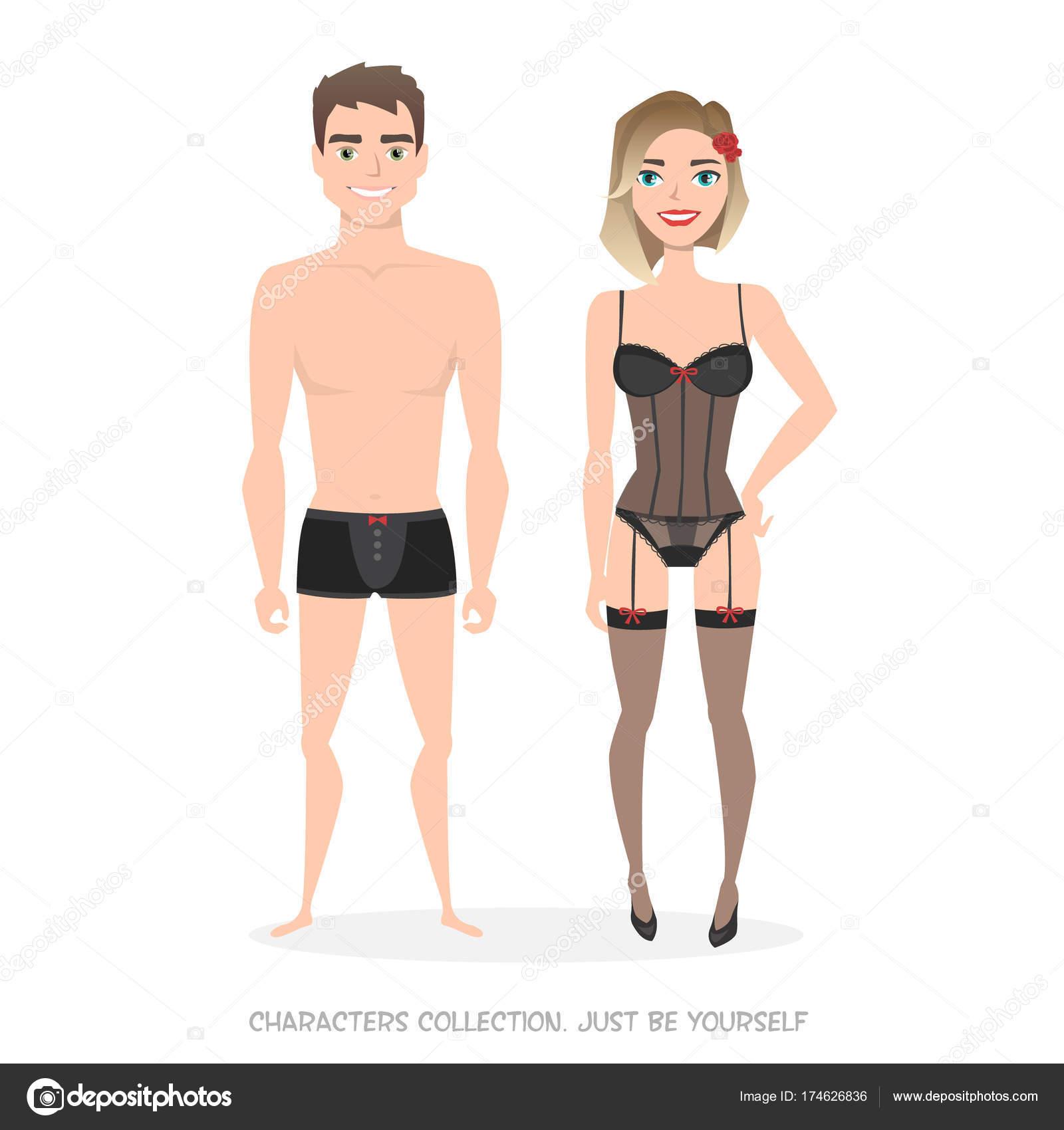 Hombre Y Mujer En Ropa Interior. Estilo De Dibujos