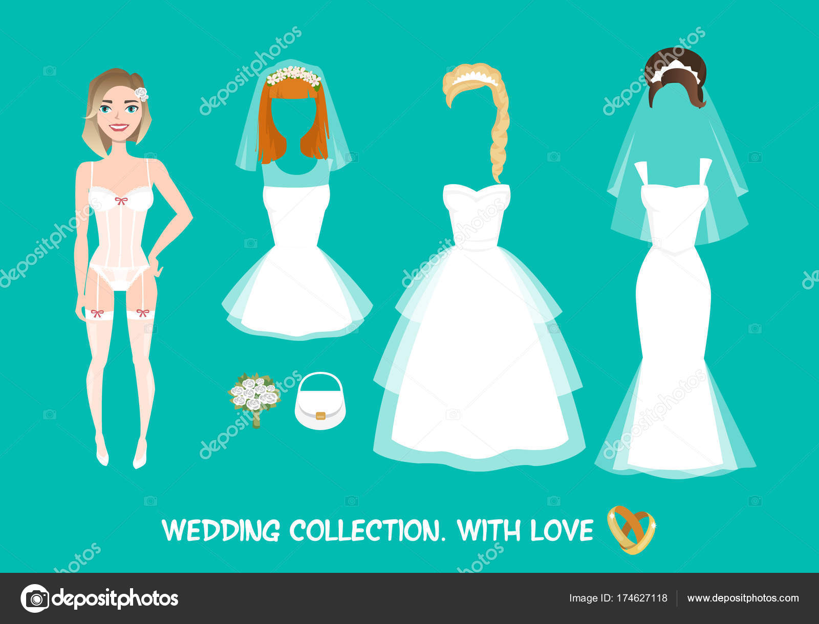 Set of clothes for the bride in cartoon style. — Stock Vector ...