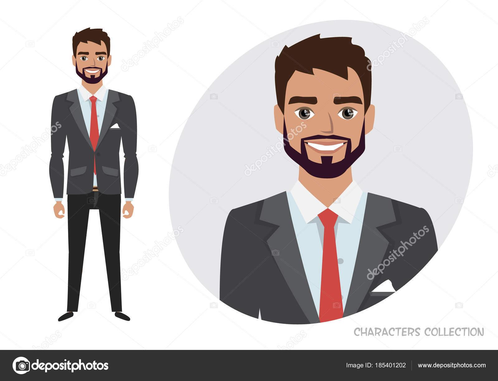 Empresario Con Barba En Traje Formal. Retrato De Longitud