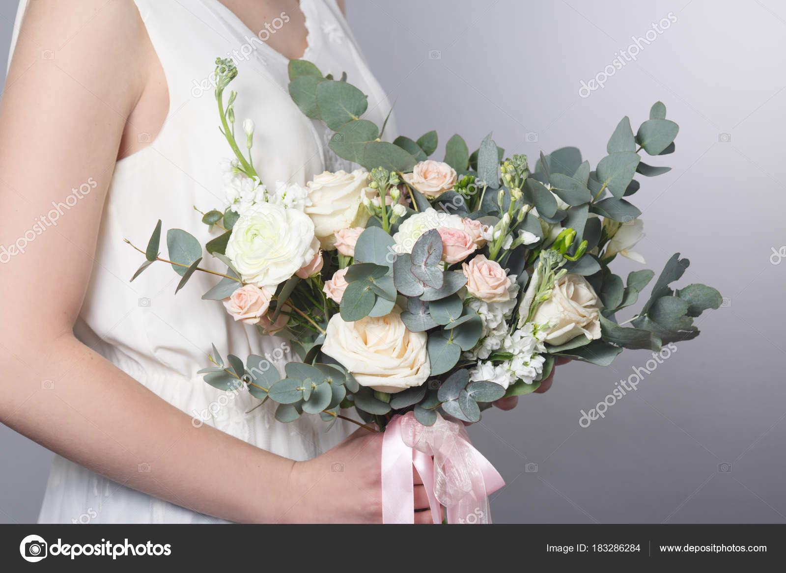 Gentle Wedding Bouquet Eucalyptus Hands Bride Stock Photo