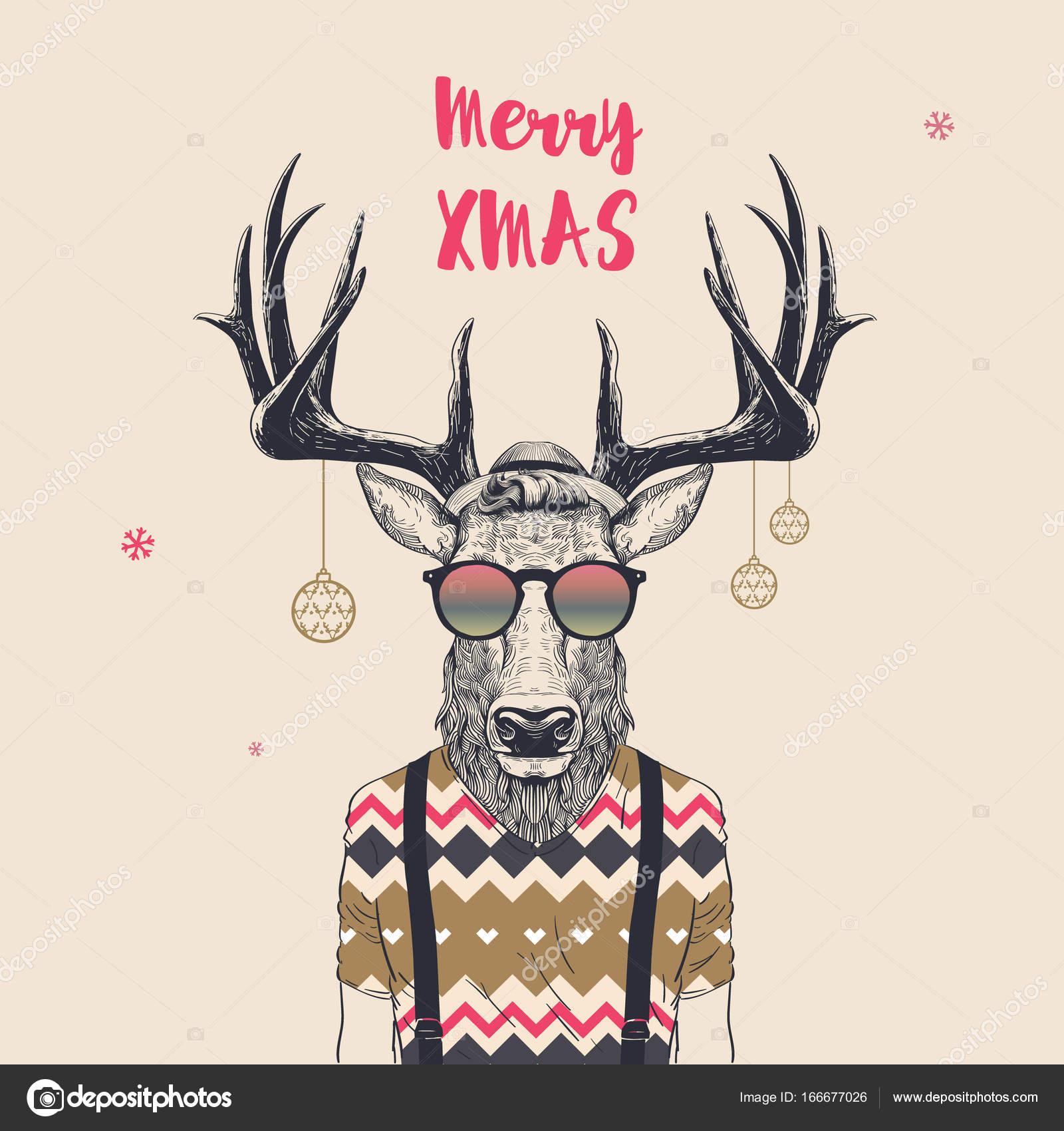Coole Weihnachten Hirsch Stockvektor Blauananas 166677026