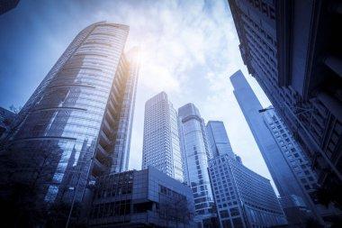 """Картина, постер, плакат, фотообои """"skyscrapers are low - angle views in chinese cities ."""", артикул 359713056"""