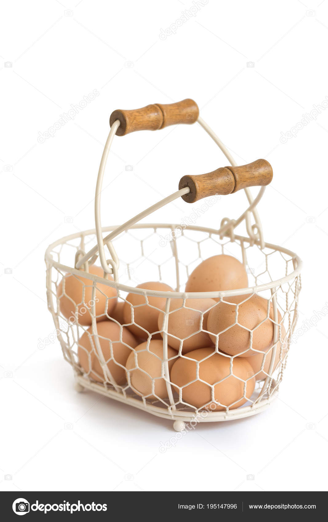 Organic Eggs Provence Rustic Wire Basket White Background — Stock ...
