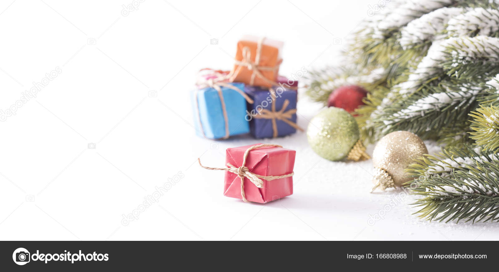 Christmas Gift Packages.Snowy Christmas Tree And Gift Packages Background Stock