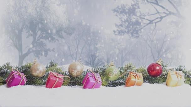 v zasněženém lese dárkové balíčky a vánoční ozdoby sněží