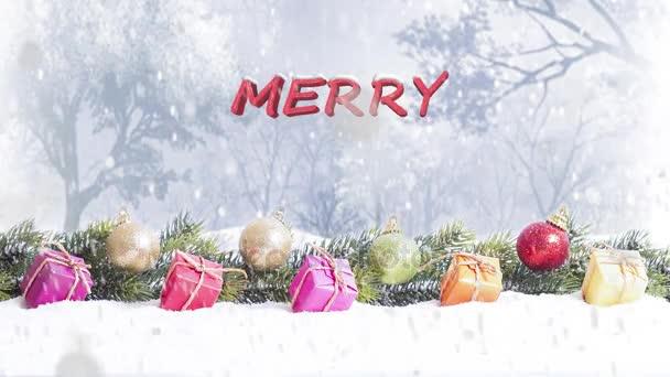 Veselé Vánoce psaní a zasněžené veselé vánoční pozadí