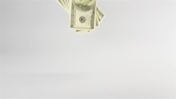 Dollars banknotes rain fall on white table cyclorama