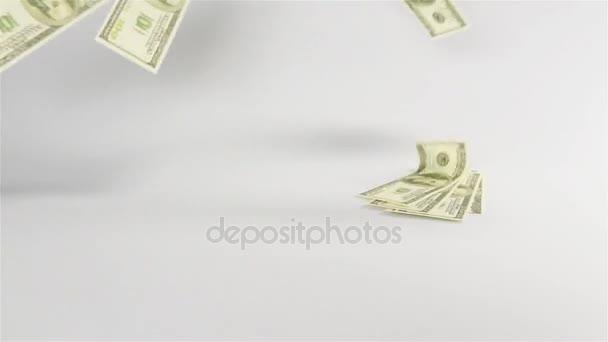 Dollars banknotes rain falling on white table cyclorama