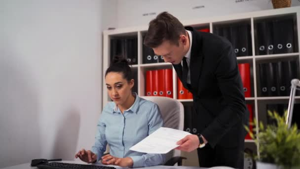You are fired, angry boss entrepreneur crying on his businesswoman employee
