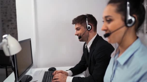 Businesspeople at call centre office