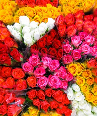 Street flower market. Bunches of bouquets of colored roses for sale.