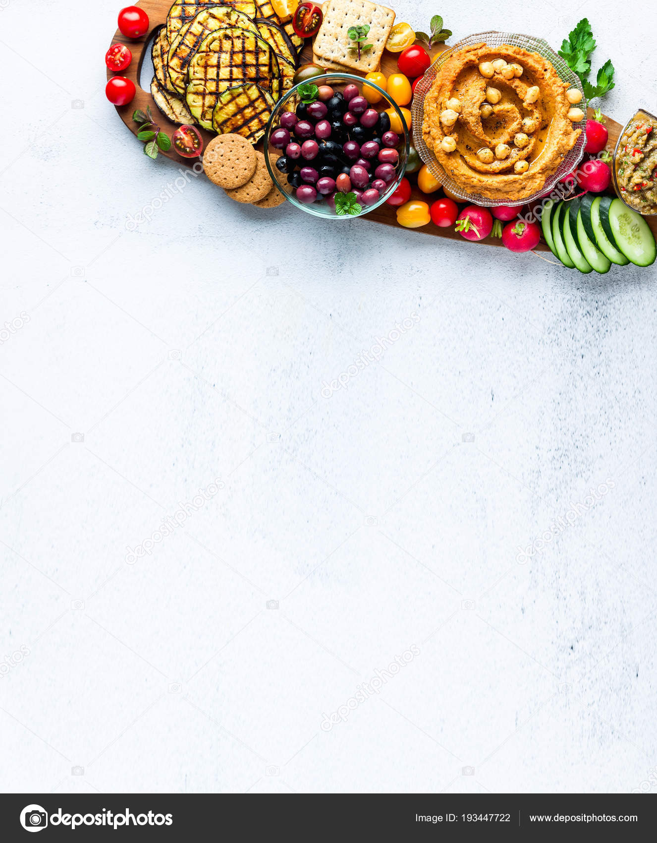 Banner Of Vegan Snack Board Flat Lay Of Various Vegetarian Dish Stock Photo C Irigri 193447722