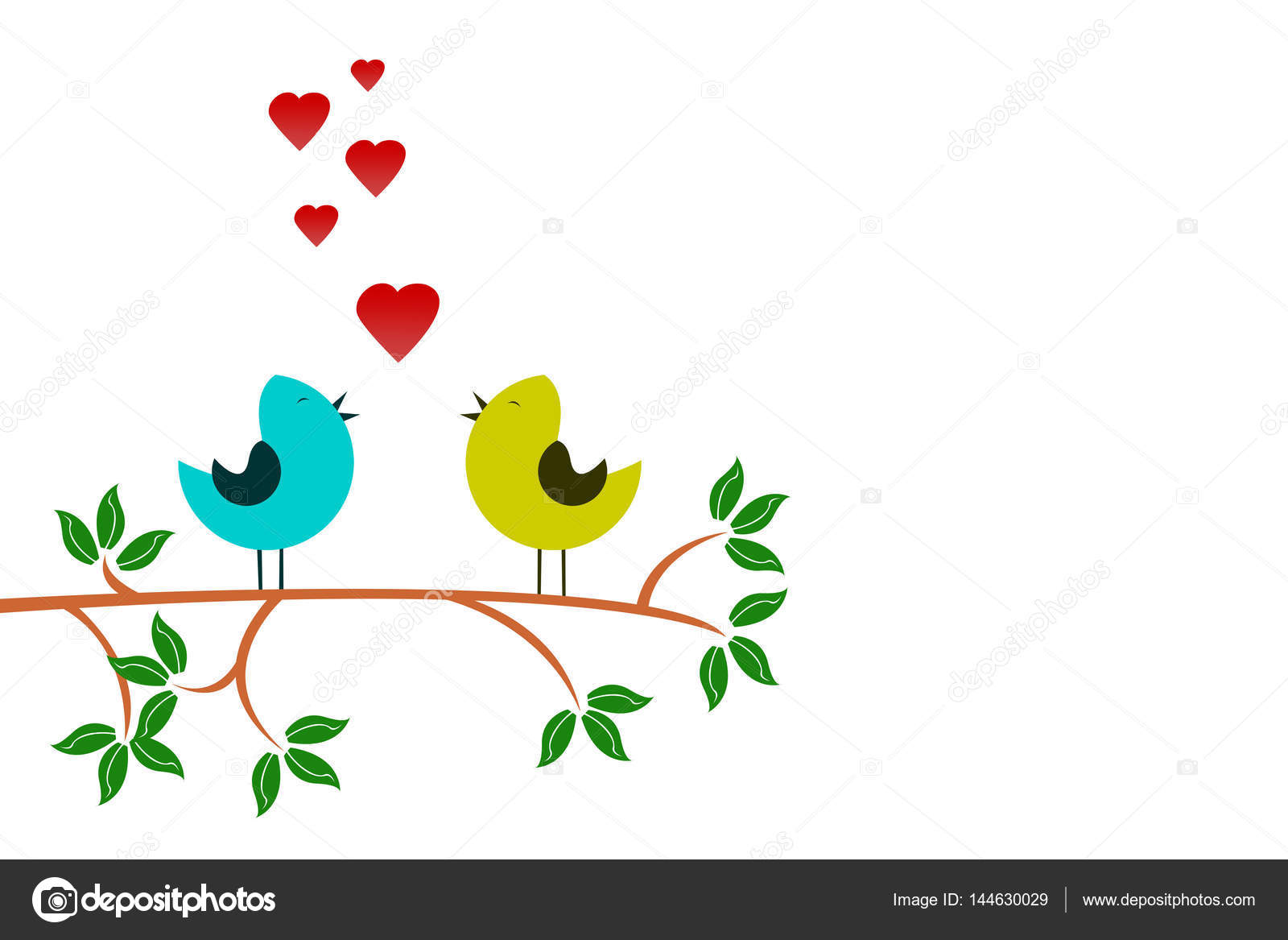 Tree branch two love birds drawing stock photo