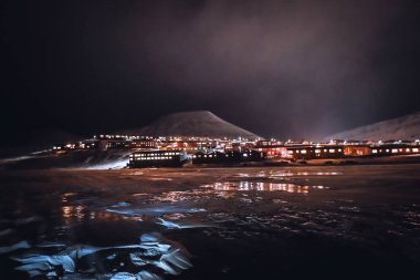 Longyearbyen Svalbard in night