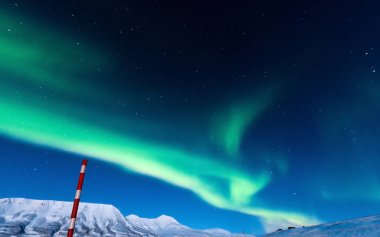 The polar Northern  lights in Norway Svalbard