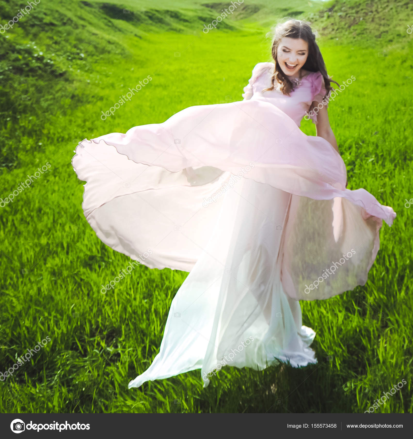 Girl Looking For A Wedding Dress A Pink Dress Flying With A Wreath