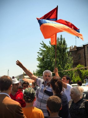 Ararat valley, Armenia. May 2nd,2018. Protesters blocked roads in Armenia People during the peaceful protests