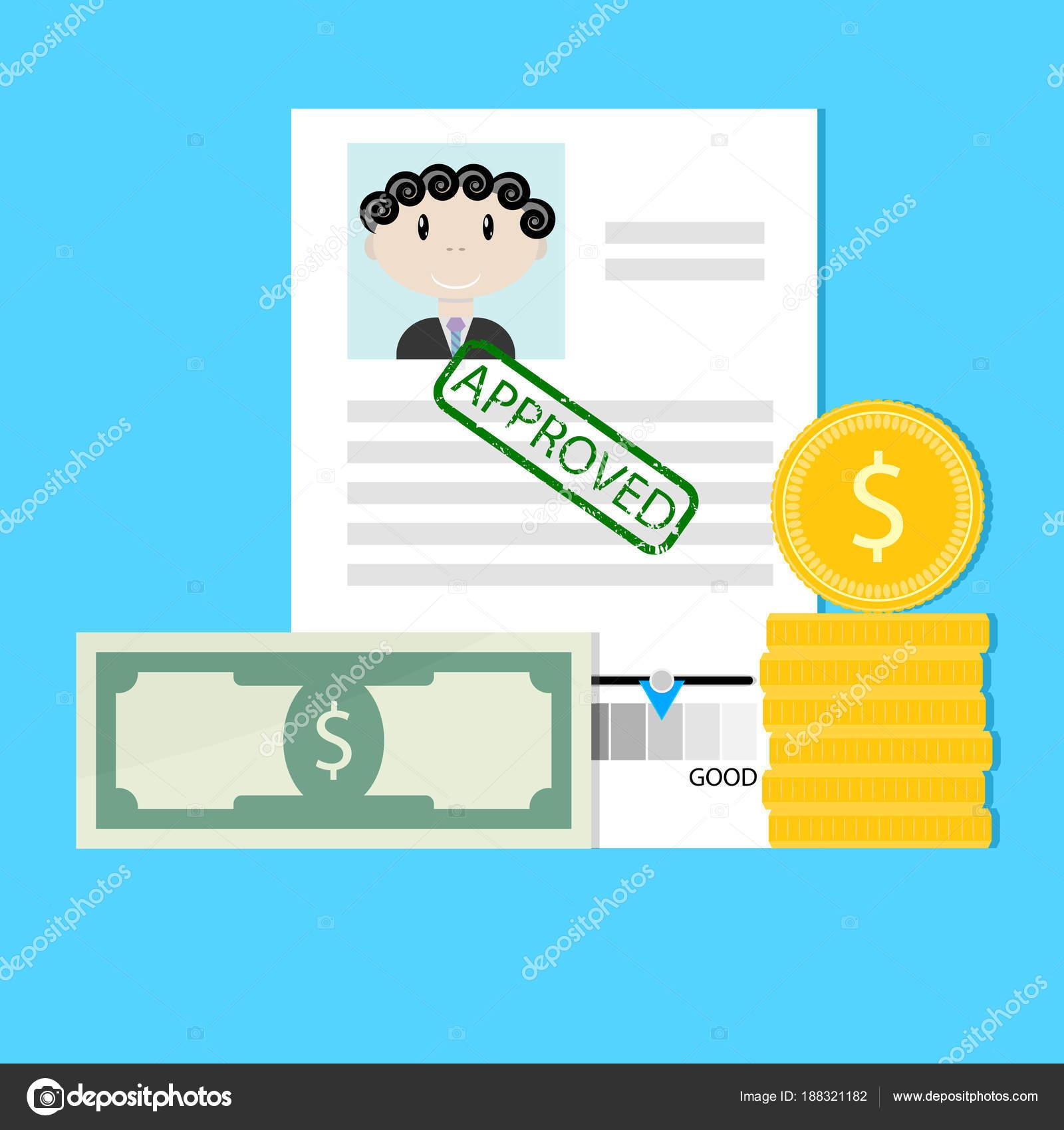 Finanz Kredit genehmigt — Stockvektor © 09910190 #188321182