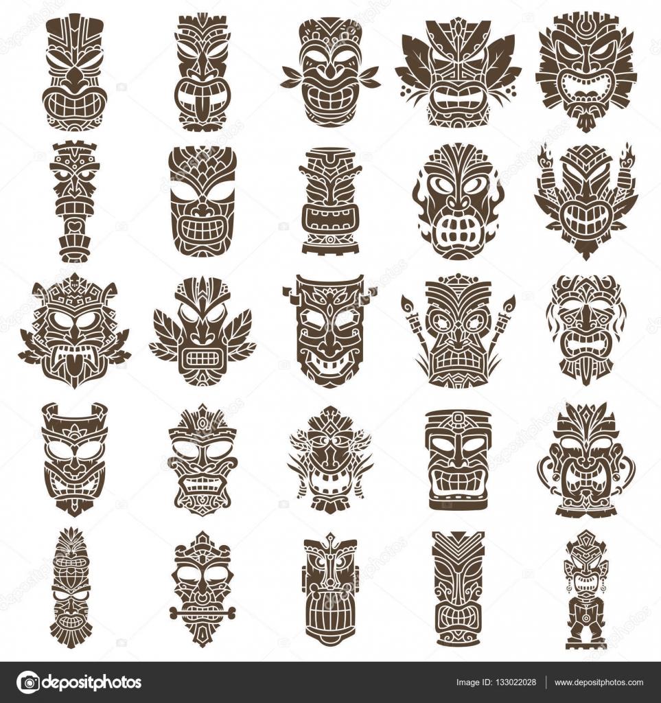 Tiki head design set stock vector pixaroma 133022028 brown tiki head design set made with shapes vector by pixaroma stopboris Gallery