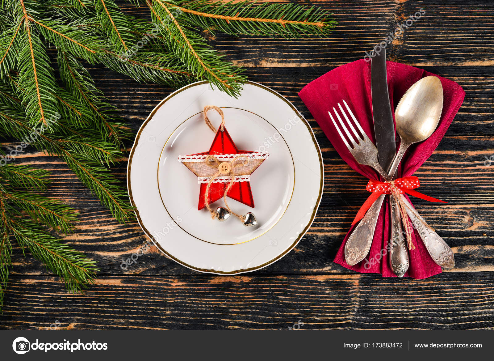 Christmas Table Decoration Christmas Dinner Plate Cutlery Decorated Festive Decorations Winter Holidays Christmas Card Free Space For Your Text Merry Christmas Happy New Year Stock Photo C Yarunivphoto 173883472