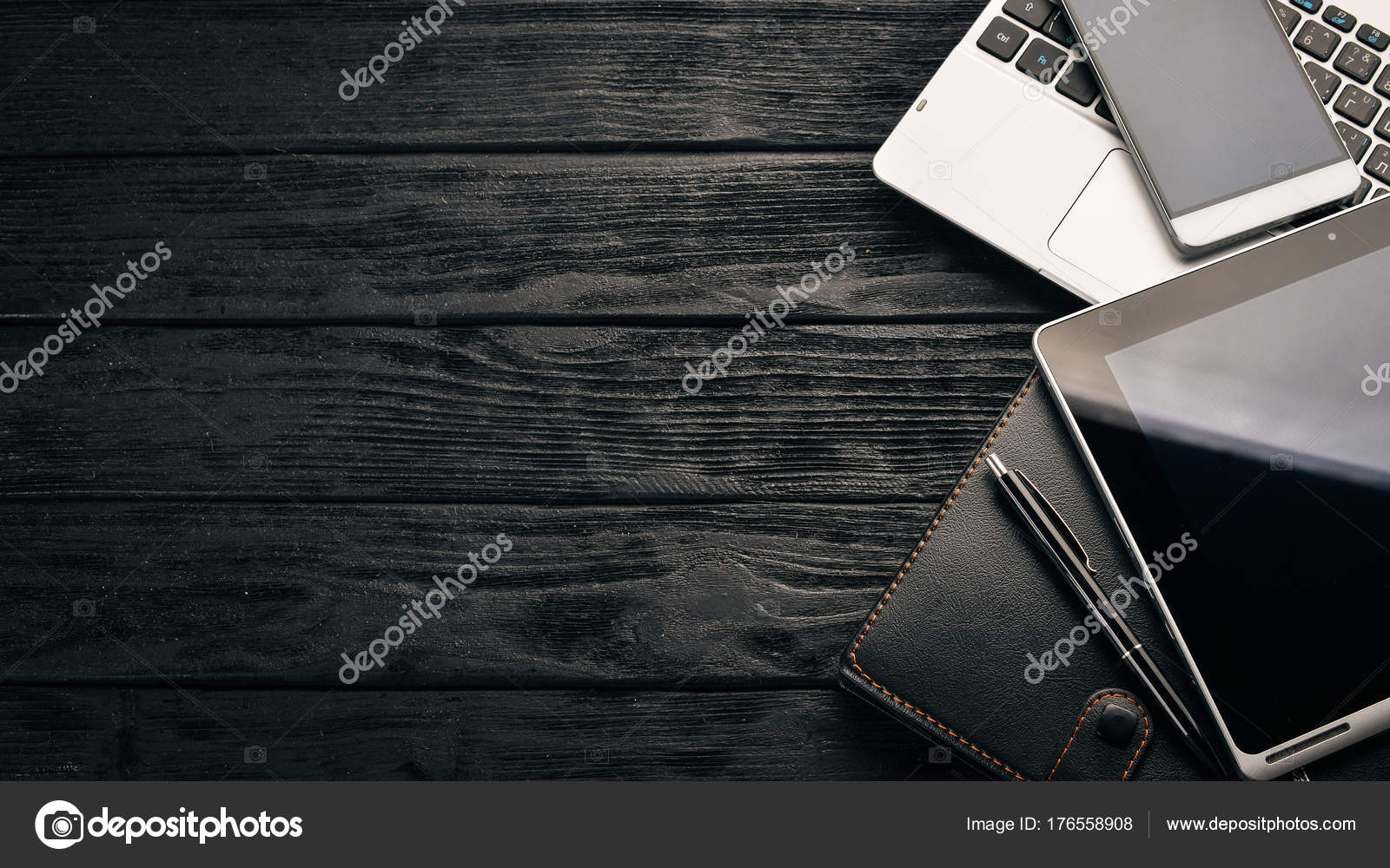 Work Desk Office Laptop Tablet Notebook Pen Pencil Wooden Background