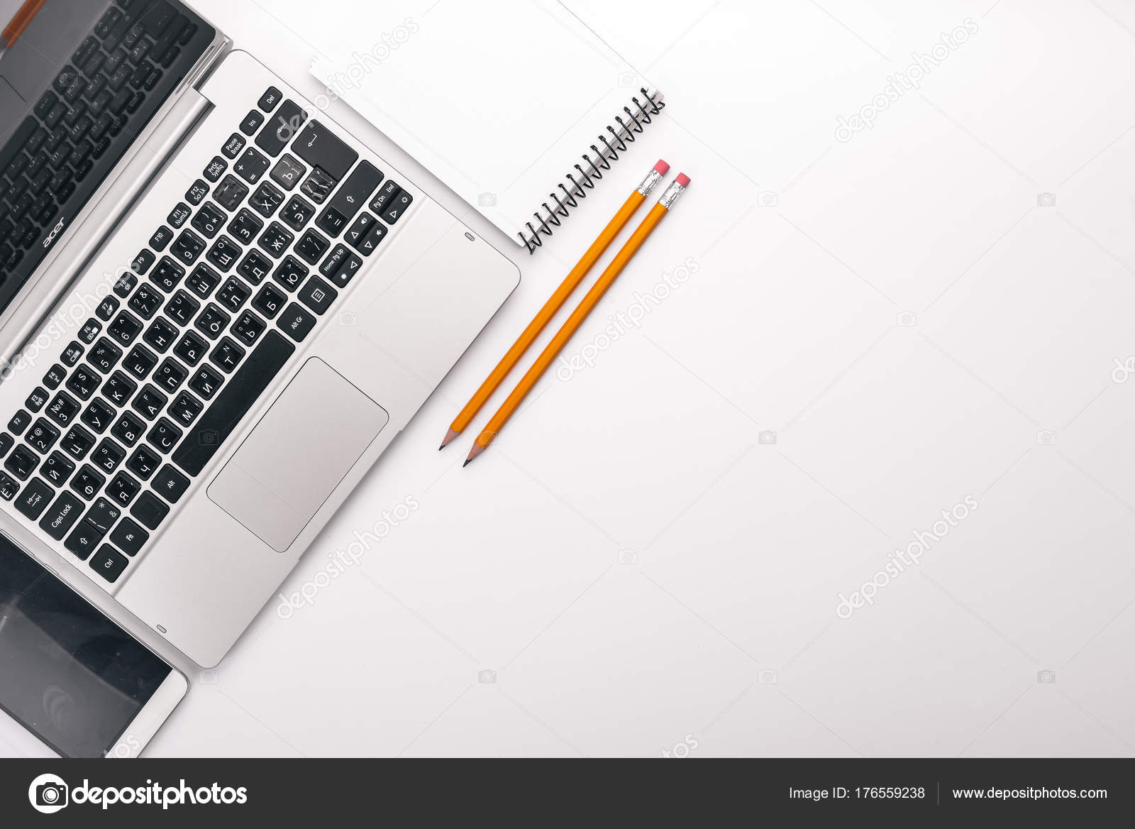 graphic designer laptop notebook pencil top view white background