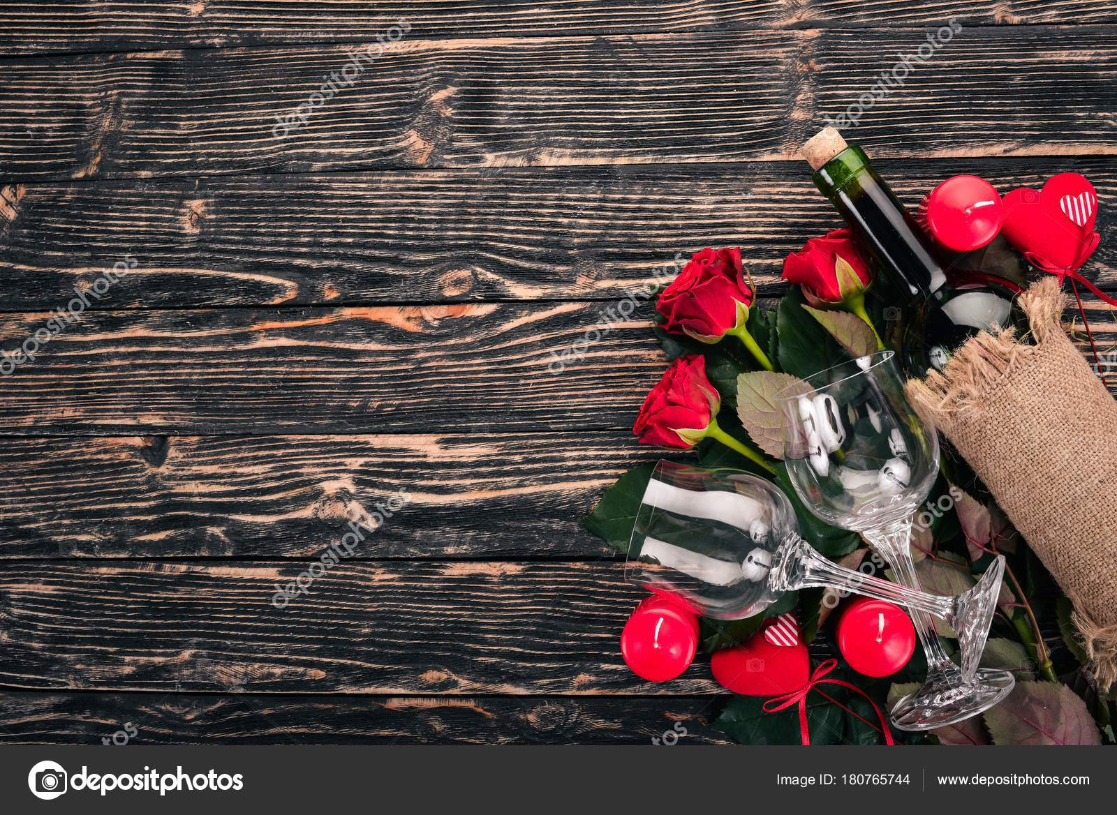 Bottle Red Wine Bouquet Red Roses Valentines Day Wooden Background