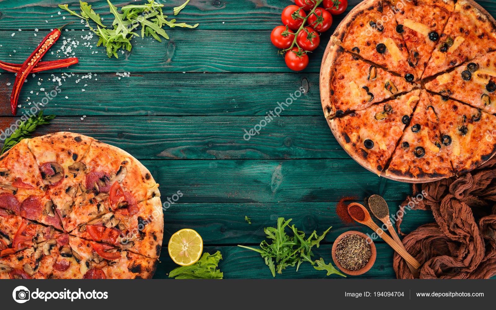 Legen Sie Die Pizza Italienische Küche Ansicht Von Oben Auf ...