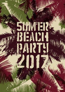 Summer Beach Party typographic grunge vintage poster design. Retro vector illustration.