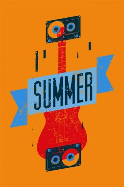 Summer music typographical vintage grunge poster. Retro vector illustration.