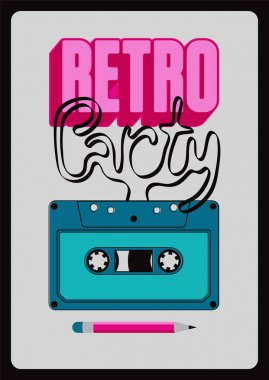Retro Party typographic poster design with an audio cassette. Vintage vector illustration.