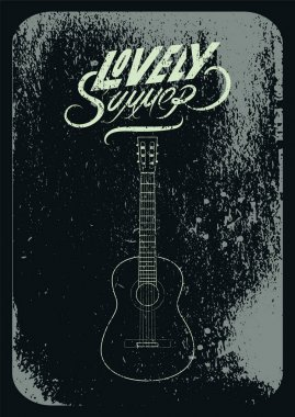 Summer Music festival grunge typographical poster design. Retro vector illustration.