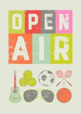 Open Air sport music festival typographic vintage style grunge poster. Retro vector illustration.