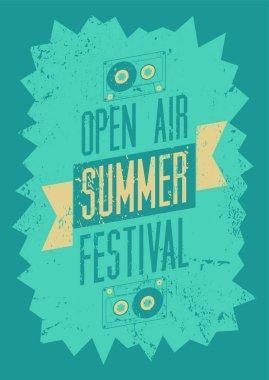 Summer festival open air typographical vintage grunge poster. Retro vector illustration.