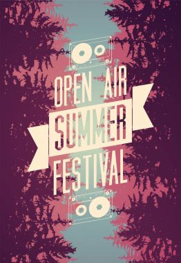 Summer festival open air typographical poster with fir trees landscape. Vector illustration.
