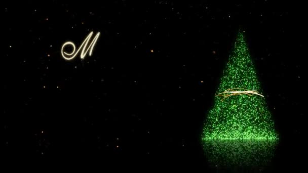 Green Sparkle Tree with Gold Snow Merry Christmas 4K Loop