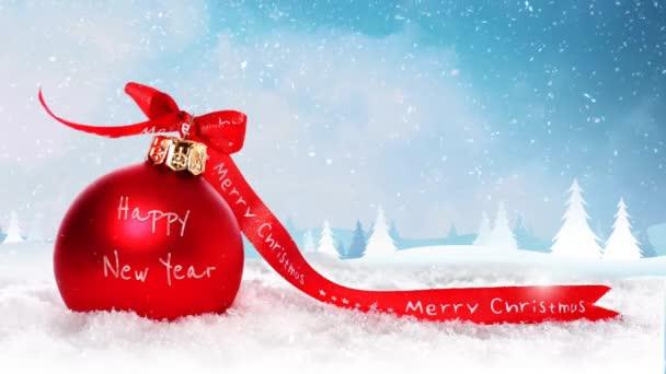 Veselé Vánoce šťastný nový rok Ornament sněhu 4k