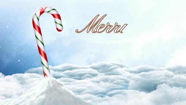 Candy Cane na sněhu Veselé Vánoce 4k