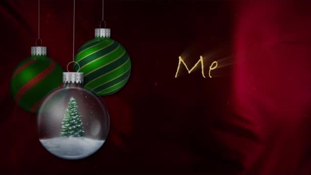 Zelené ozdoby červenou látkou Veselé Vánoce 4k smyčka