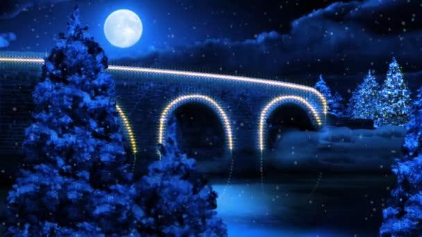 Santa Fly Over zimní most 4k smyčka