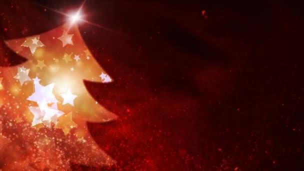 Red Sparkling Star Filled Tree 4K Background Loop