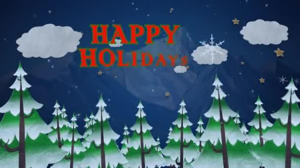 e6777984939aa Características Inverno Happy Holidays Pinhal Pinho Árvores Aparecendo  Montanhas Nas — Vídeo de Stock