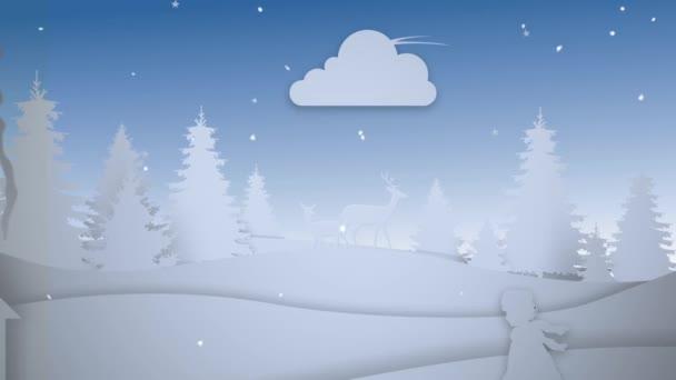 Papír vyjmout z veselé Vánoce 4k Loop funkce fotoaparátu, pohybující se po městě papíru vystřihnout siluety s letícím přes měsíc a animované zprávy Veselé Vánoce Santa